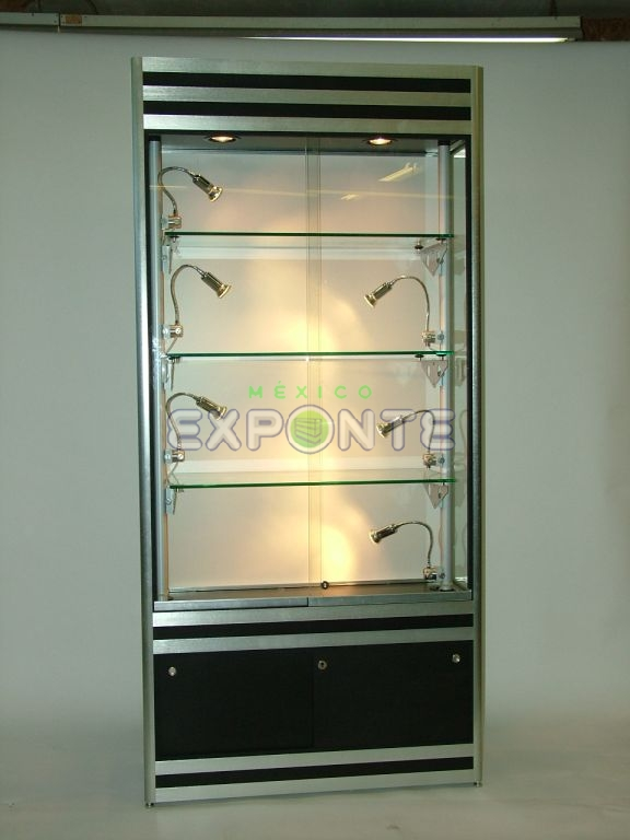 Vitrinas altas de pared con iluminaci n puntual exponte - Vitrinas empotradas en pared ...